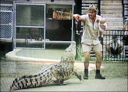 """This croc could eat me whole if it got mad, which is why I carry my baby to throw as a distraction..."""